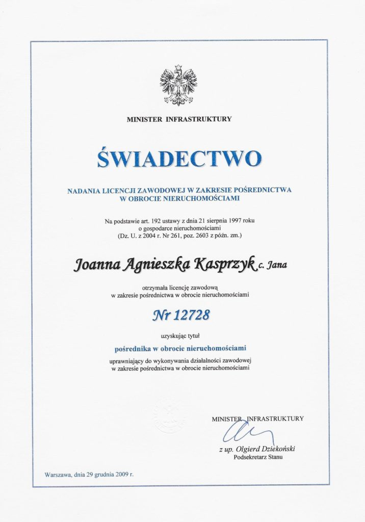 licencja zawodowa nr 12728 nadana przez Ministra Infrastruktury